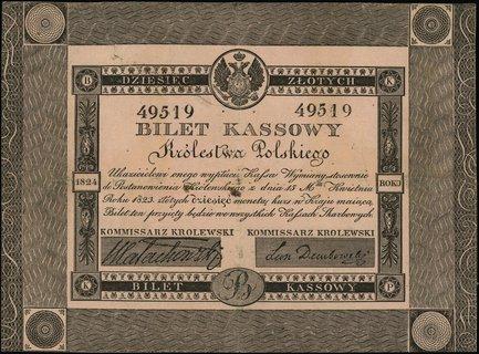10 złotych polskich 1824, podpisy komisarzy: Małachowski i Leon Dembowski, numeracja 49519