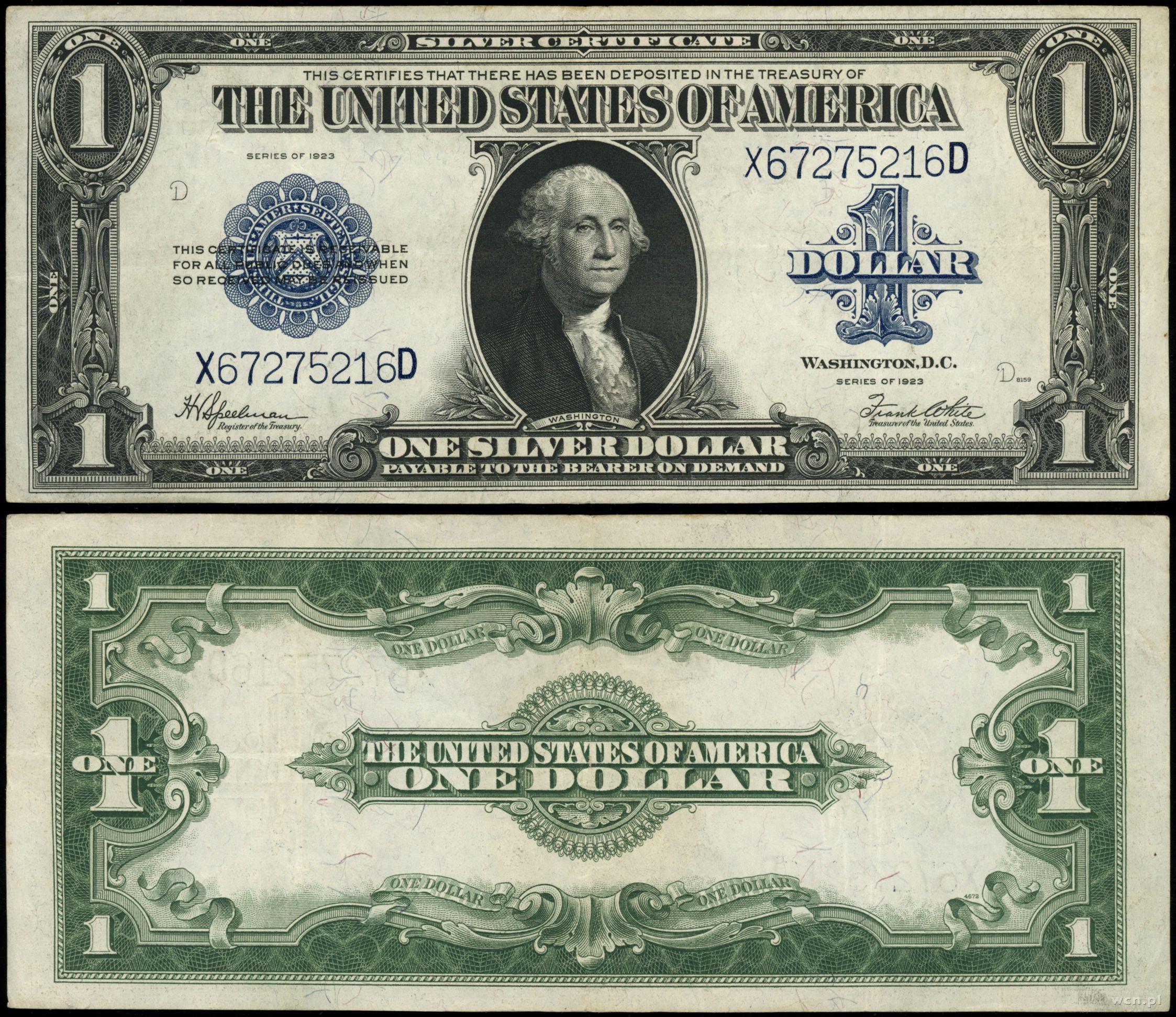 السعر 200 100 Dolar: 1 Dolar, 1923, Stany Zjednoczone Ameryki (USA)