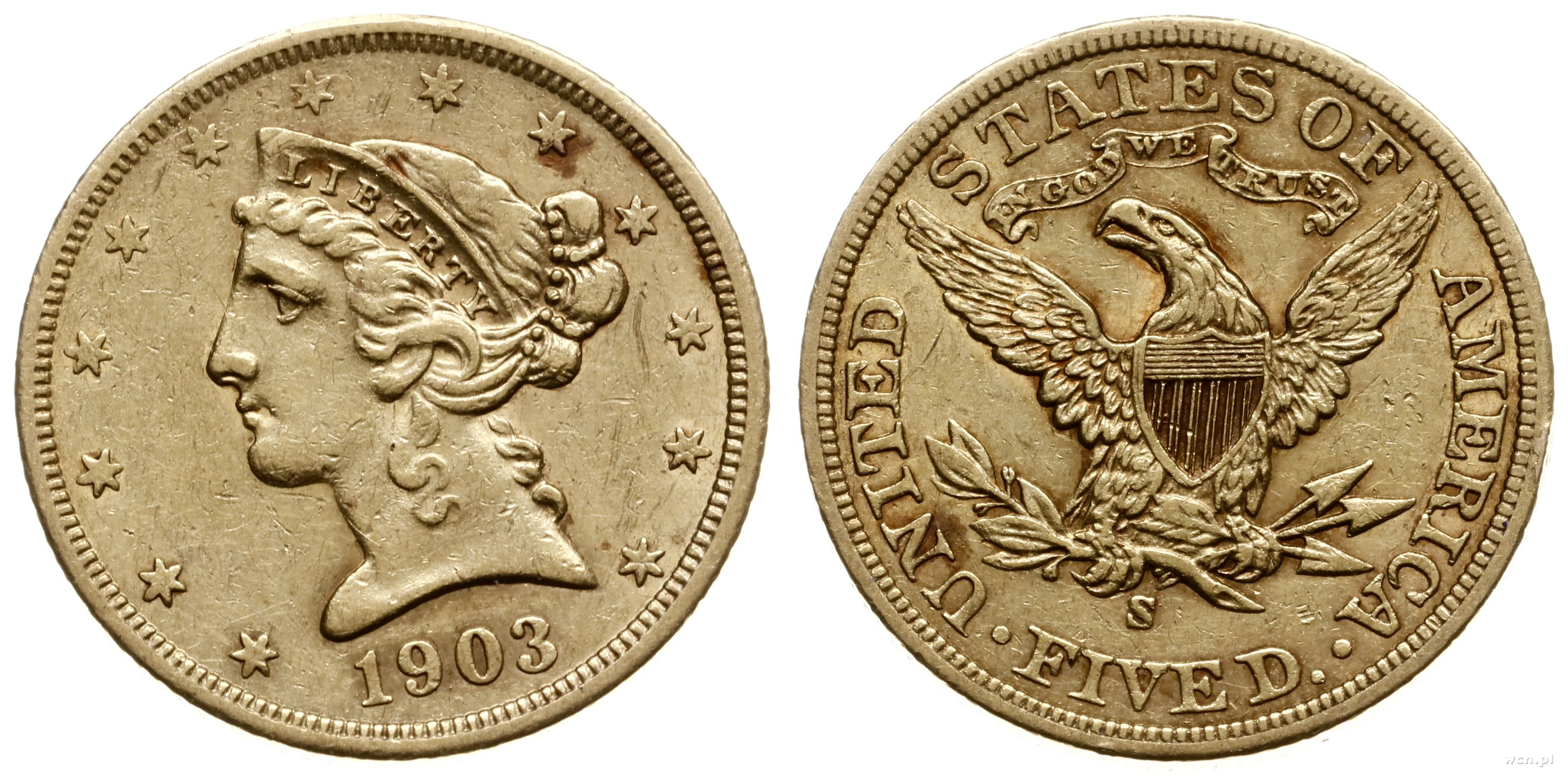5 dolarów 1903 S, San Francisco, Liberty Head, z