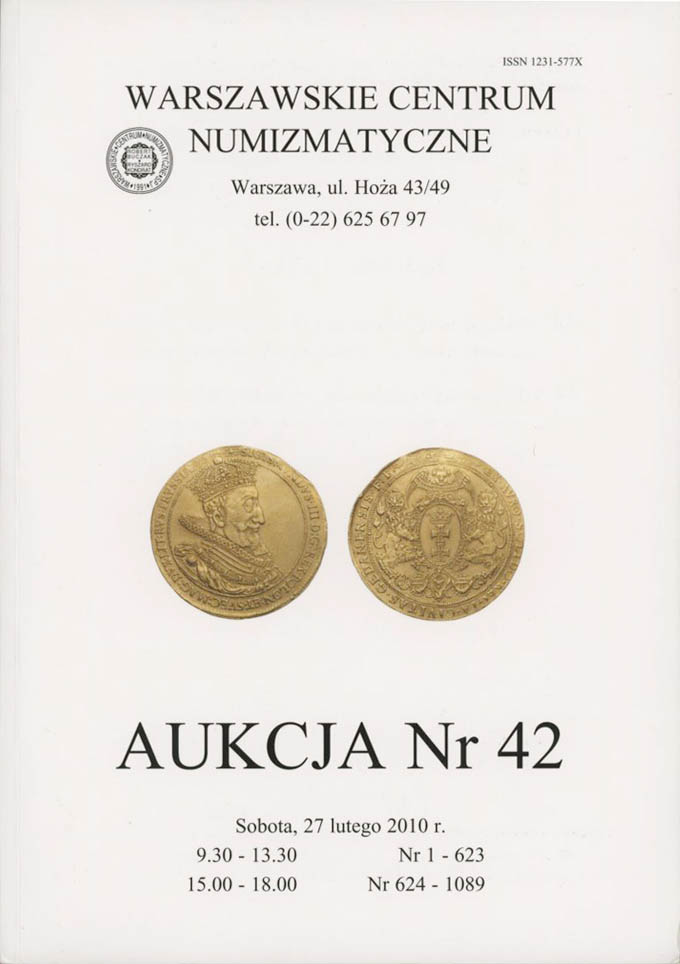 WCN Aukcja 42, 27.02.2010, monety, medale, banknoty i literatura