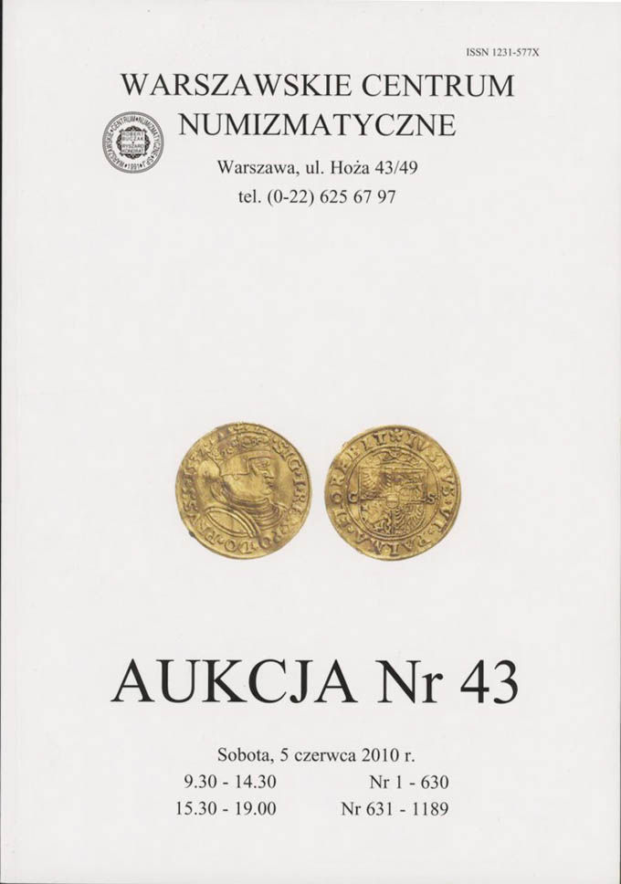WCN Aukcja 43, 5.06.2010, monety, medale, banknoty i literatura