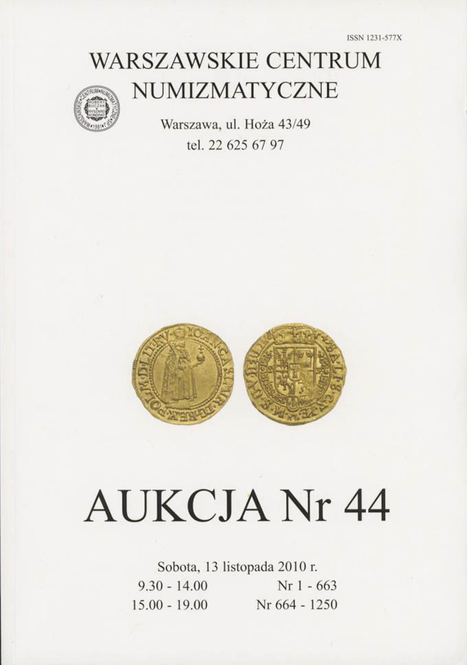 WCN Aukcja 44, 13.11.2010, monety, medale, banknoty i literatura