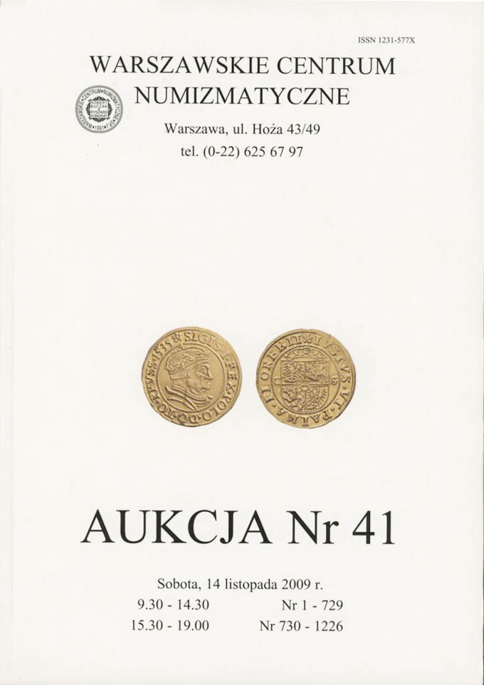 WCN Aukcja 41, 14.11.2009, monety, medale, banknoty i literatura